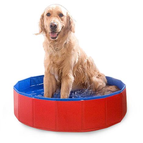 Banera para mascotas, 80 * 30 cm, rojo y azul