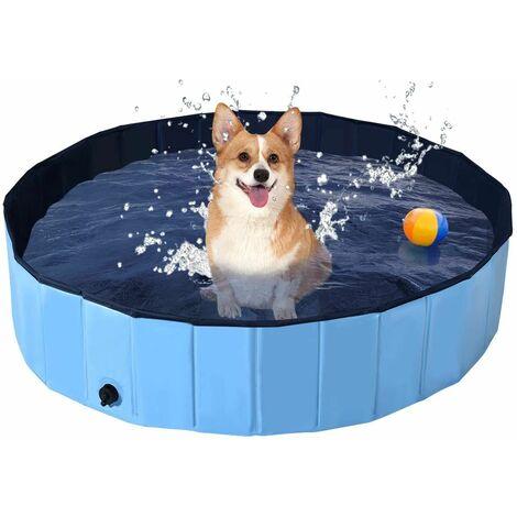 Bañera Plegable para Mascotas Portátil Piscina para Perros Gatos de PVC Piscina para Niños para Interior Exterior (120x30cm, Azul)