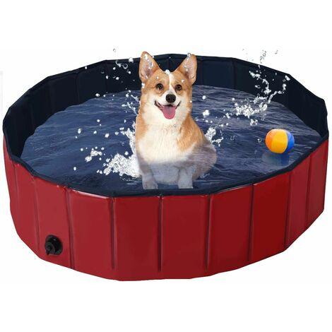 Bañera Plegable para Mascotas Portátil Piscina para Perros Gatos de PVC Piscina para Niños para Interior Exterior (120x30cm, Rojo)
