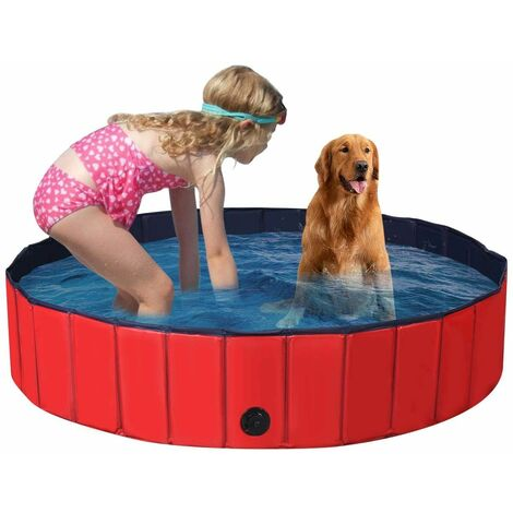 Bañera Plegable para Mascotas Portátil Piscina para Perros Gatos de PVC Piscina para Niños para Interior Exterior (140x30cm, Rojo)