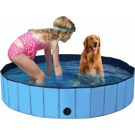 Bañera Plegable para Mascotas Portátil Piscina para Perros Gatos de PVC Piscina para Niños para Interior Exterior (160x30cm, Azul)