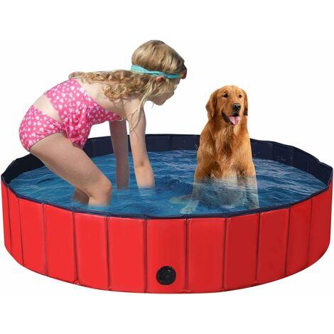 Bañera Plegable para Mascotas Portátil Piscina para Perros Gatos de PVC Piscina para Niños para Interior Exterior (160x30cm, Rojo)