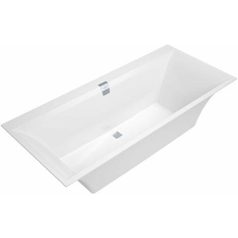 Bañera rectangular Squaro Edge 12 Duo, 1800x800mm, incl. desagüe y rebosadero, incl. patas de bañera, color: Star White - UBQ180SQE2DV-96