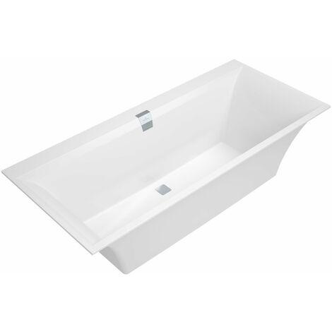 Bañera rectangular Squaro Edge 12 Duo, UBQ170SQE2DV 1700x750mm, incl. desagüe y rebosadero, incl. pies de bañera, color: Star White - UBQ170SQE2DV-96