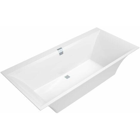 Bañera rectangular Villeroy und Boch Quaryl Squaro Edge 12 Duo, 1900x900mm, incl. juego de desagües y rebosaderos, incl. pies de la bañera, color: Star White - UBQ190SQE2DV-96