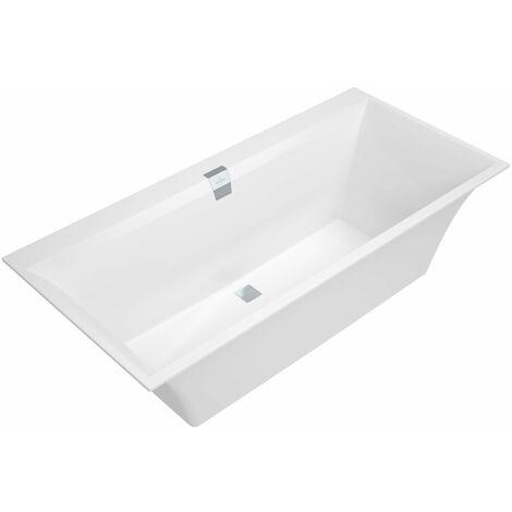 Bañera rectangular Villeroy und Boch Quaryl Squaro Edge 12 Duo, UBQ160SQE2DV 1600x750mm, incl. juego de accesorios de desagüe y rebose, incl. pies de baño, color: Blanco de estrellas - UBQ160SQE2DV-96