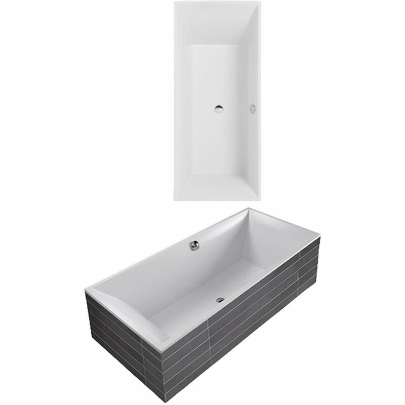 Villeroy Und Boch - Bañera Villeroy y Boch Quaryl rectangular Squaro Duo Slim Line, UBQ170SQS2V-, 1694x744mm, incl. patas de bañera - UBQ170SQS2V-01