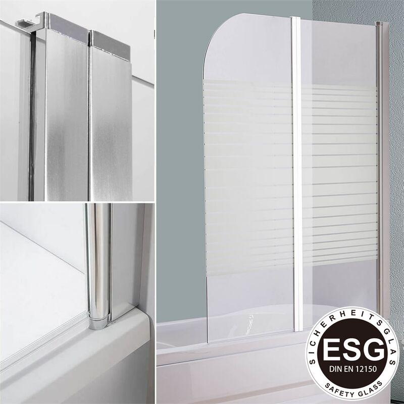 Mucola - Mampara de ducha cabina de ducha bañera Vidrio satinado paneles plegables para bañera o ducha biombo abatible hoja de bañera