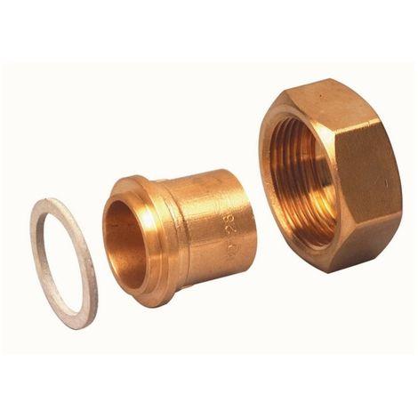 "Banides & Debeaurain 0290408 (x2pcs) connection Straight Flat gasket GAZ to brazing sur Copper. nut Fem G3/4"" - Cu 14x16"