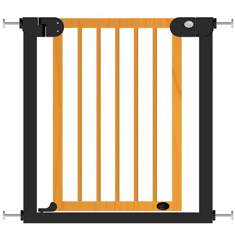 Image of Baby Safety Gate Woody Metal and Wood 76-83cm - Multicolour - Baninni