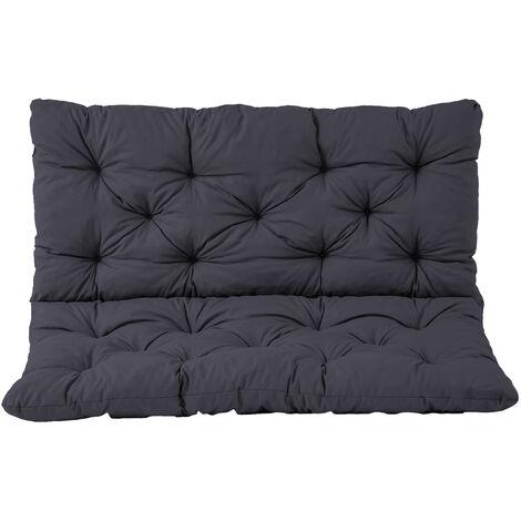 Bankauflage mit Rückenteil Sitz und Rückenkissen mit Bänder 100x98 cm Polsterauflage Gartenbank grau