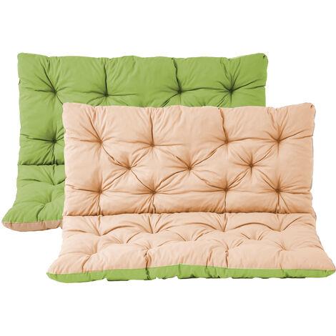 Bankauflage mit Rückenteil Sitz und Rückenkissen mit Bänder 100x98 cm Polsterauflage Wendeauflage Gartenbank Wendekissen grün beige