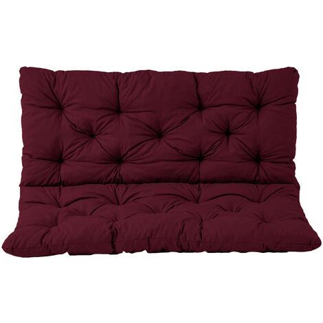 Bankauflage mit Rückenteil Sitz und Rückenkissen mit Bänder 120x98 cm Polsterauflage 2-Sitzer Gartenbank bordeaux rot