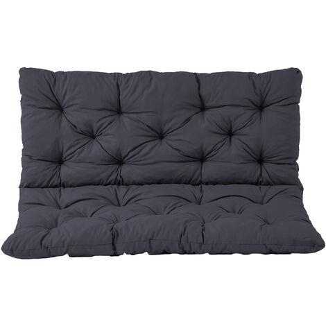 Bankauflage mit Rückenteil Sitz und Rückenkissen mit Bänder 120x98 cm Polsterauflage 2-Sitzer Gartenbank grau
