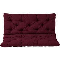 Bankauflage mit Rückenteil Sitz und Rückenkissen mit Bänder 150x98 cm Polsterauflage 3-Sitzer Gartenbank bordeaux rot