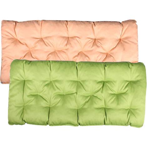 Bankauflage Sitzkissen mit Bänder 120x50 Gartenbank Auflage Bankpolster Wendeauflage Polsterauflage Wendekissen grün beige