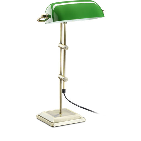 Bankerlampe grün, Tischlampe Glas, Dekolampe Retro, Tischlampe Messing Optik, HxBxT: 52 x 27 x 18 cm, bronze
