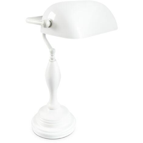 Bankerlampe Shabby Banker Lampe mit Holzfuß und Glasschirm Vintage Tischlampe, Höhe 45 cm, weiß 100166069