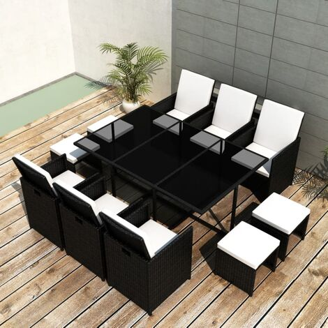 Bannister 10 Seater Dining Set with Cushions by Dakota Fields - Black