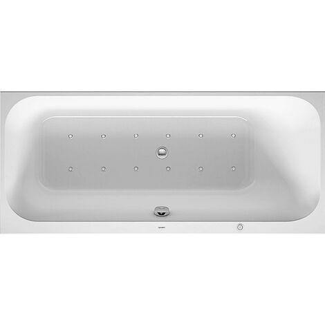 Baño de hidromasaje Duravit Happy D.2 1600x700mm, versión empotrada, con 1 respaldo inclinado hacia la derecha, marco, desagüe y rebosadero, Airsystem - 760309000AS0000