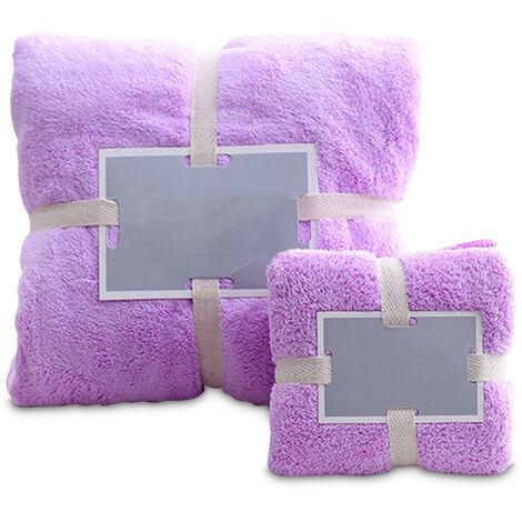 Bano Ducha Toallas Juego de toalla de bano toallas de mano suave mullido Toallas de playa polar de coral Salon Toallas, purpura