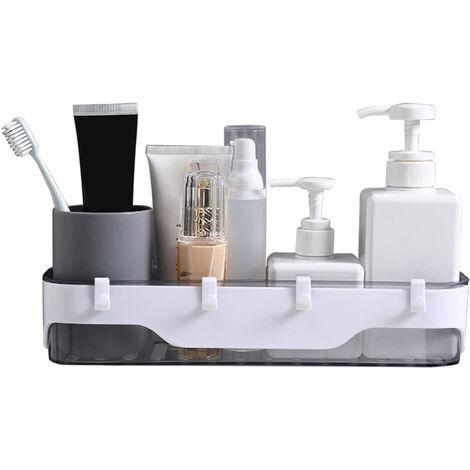 Bano Estante con ganchos montado en la pared de la ducha Caddy ninguna perforacion auto adhesivo ducha estantes de almacenamiento cesta Champu provistos de ducha Organizador, gris