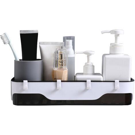 Bano Estante con ganchos montado en la pared de la ducha Caddy ninguna perforacion auto adhesivo ducha estantes de almacenamiento cesta Champu provistos de ducha Organizador, Negro
