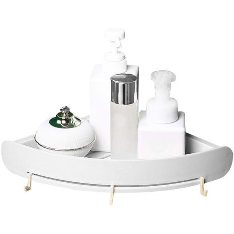 Bano Plataforma Organizador apoderarse de estante estante de la esquina Punch-Libre de almacenamiento de bano de plastico titular de rack de almacenamiento en rack triangular ducha, blanco
