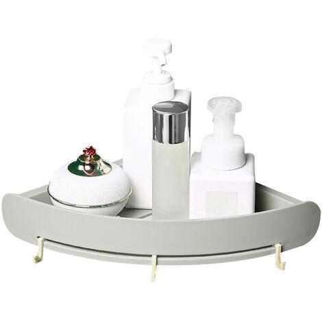 Bano Plataforma Organizador apoderarse de estante estante de la esquina Punch-Libre de almacenamiento de bano de plastico titular de rack de almacenamiento en rack triangular ducha, gris