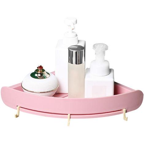 Bano Plataforma Organizador apoderarse de estante estante de la esquina Punch-Libre de almacenamiento de bano de plastico titular de rack de almacenamiento en rack triangular ducha, rosa