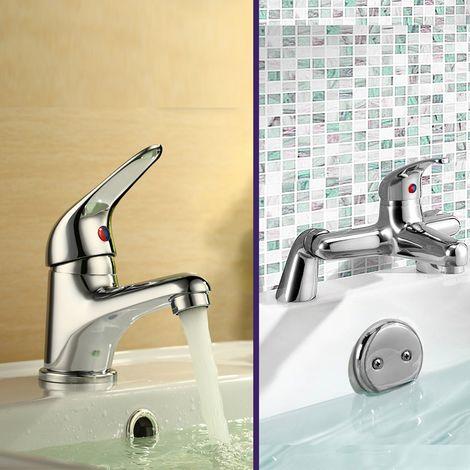 Banox Modern Single Lever Bathroom Basin Mono Mixer & Bath Filler
