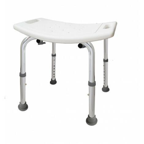 Banqueta de aluminio regulable para baño con asas Brillo - CM Baños