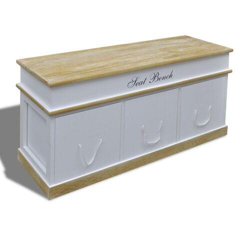 Banquette banc coffre de rangement 100 cm blanc - Blanc