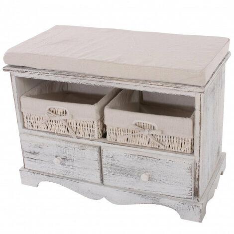 Banquette banc en bois avec 2 paniers et tiroirs blanc 42x62x33cm - blante