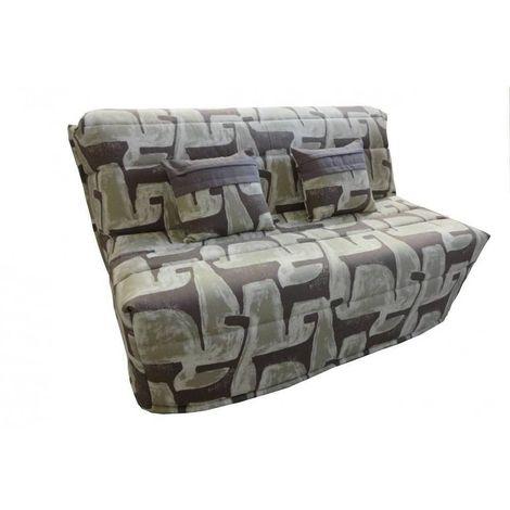 Banquette BZ convertible AXEL à motifs taupe 160*200cm matelas confort BULTEX