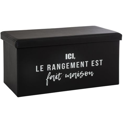 Banquette coffre pliable rangement Louis - L. 76 x H. 37 cm - Noir - Noir