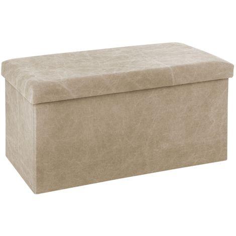 Banquette coffre pliable Stone Wash - L. 76 x H. 37,5 cm - Beige - Beige