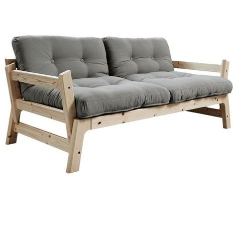 Banquette convertible futon STEP pin massif coloris gray couchage 70*200 cm. - gris