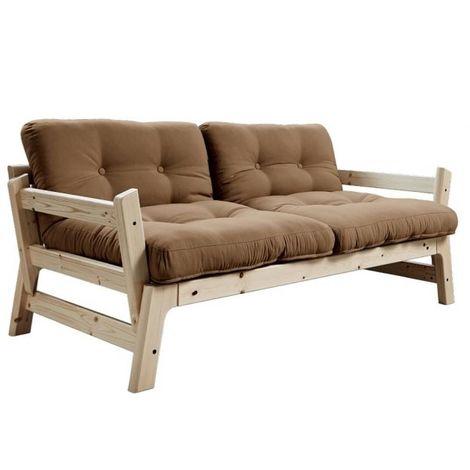 Banquette convertible futon STEP pin massif coloris mocca couchage 70*200 cm. - marron