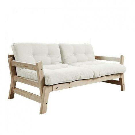 Banquette convertible futon STEP pin massif coloris naturel couchage 70*200 cm. - blanc