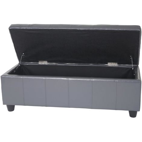 Banquette Kriens, coffre, banc, cuir + similicuir, 112x45x45cm ~ gris