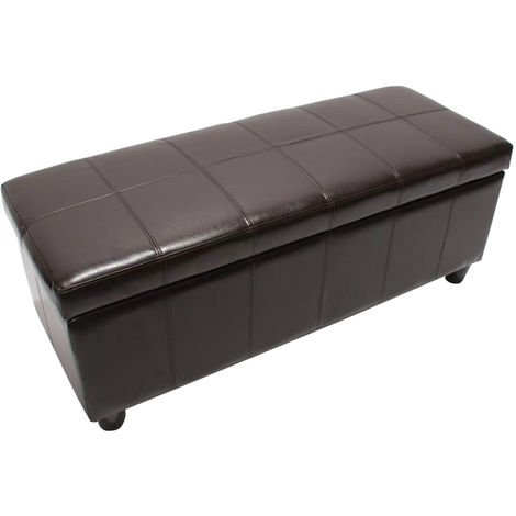Banquette Kriens, coffre, banc, cuir + similicuir, 112x45x45cm ~ marron