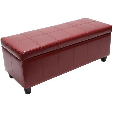 Banquette Kriens, coffre, banc, cuir + similicuir, 112x45x45cm ~ rouge