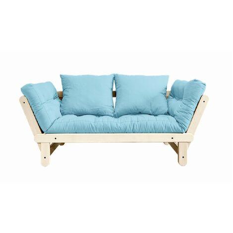Banquette méridienne futon BEAT pin naturel tissu bleu clair couchage 75*200 cm. - bleu