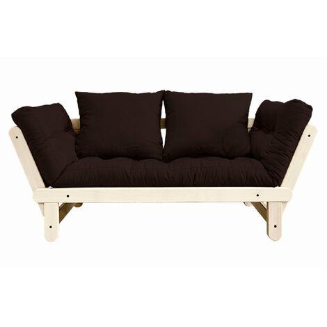Banquette méridienne futon BEAT pin naturel tissu brown couchage 75*200 cm. - marron
