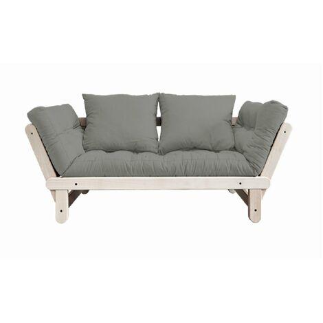 Banquette méridienne futon BEAT pin naturel tissu gray couchage 75*200 cm. - gris