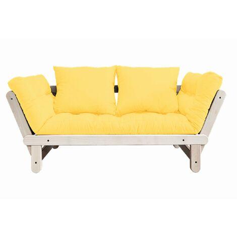 Banquette méridienne futon BEAT pin naturel tissu jaune couchage 75*200 cm. - jaune