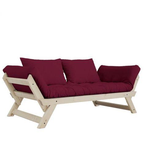Banquette méridienne futon BEBOP bordeaux et pin naturel couchage 75*200 cm. - rouge