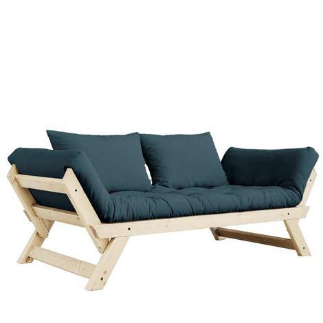 Banquette méridienne futon BEBOP pin naturel coloris bleu pétrole couchage 75*200 cm. - bleu