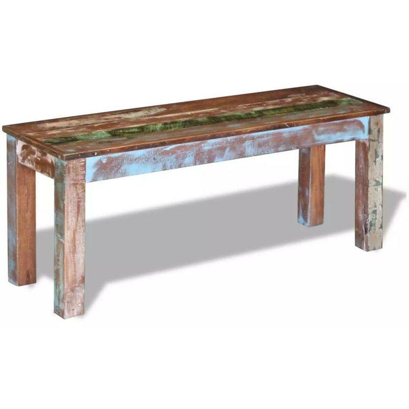 Banquette pouf tabouret meuble banc 110 cm bois de récupération massif